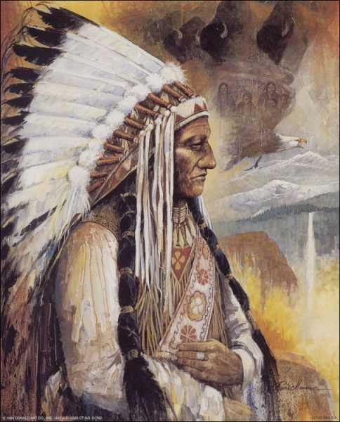 Chief Sitting Bull Indian Mini Art Print Size 4x5 By Ruane