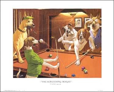 Scratching Beagle Pool Dogs Paper Tole 3D Kit size 8x10 8