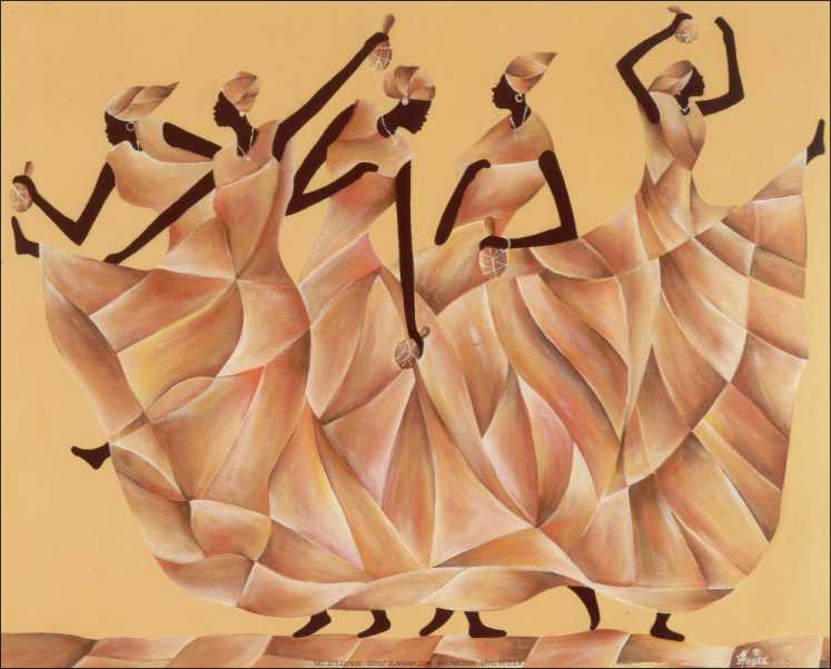 Black African Women Dancing Art Print size 8x10 22763