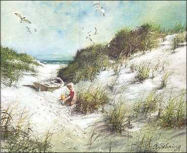Day At The Beach By Adolf Sehring Art Print Size 16x20 Inches
