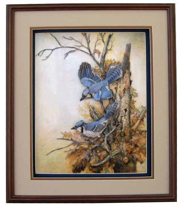 graceful sentinel blue jay bird paper tole kit size 16x20 16 8137 by ruane manning. Black Bedroom Furniture Sets. Home Design Ideas