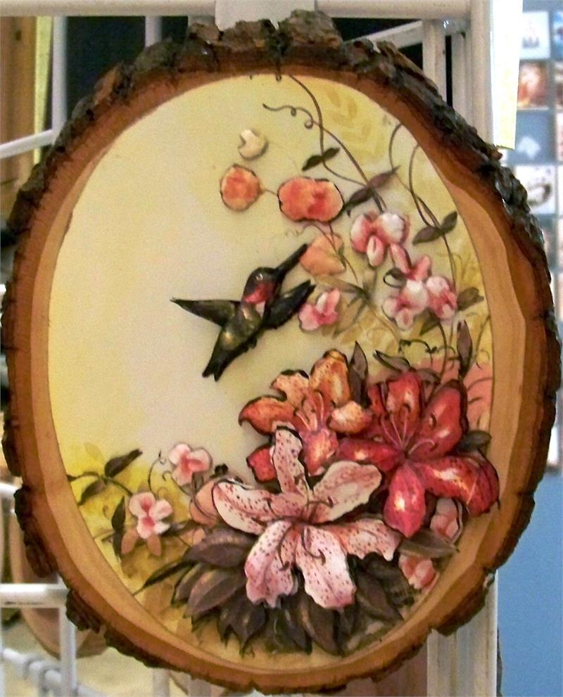 Humming Bird and Flowers built on Rustic Wood Plaque W