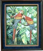 Blue Parrots Paper Tole 3D Decoupage Craft Kit size 8x10 8-1346